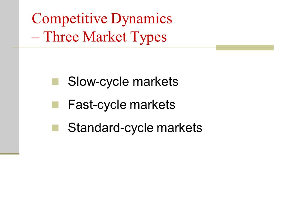 Competitive Dynamics – Three Market Types Slow-cycle markets Fast-cycle markets Standard-cycle markets