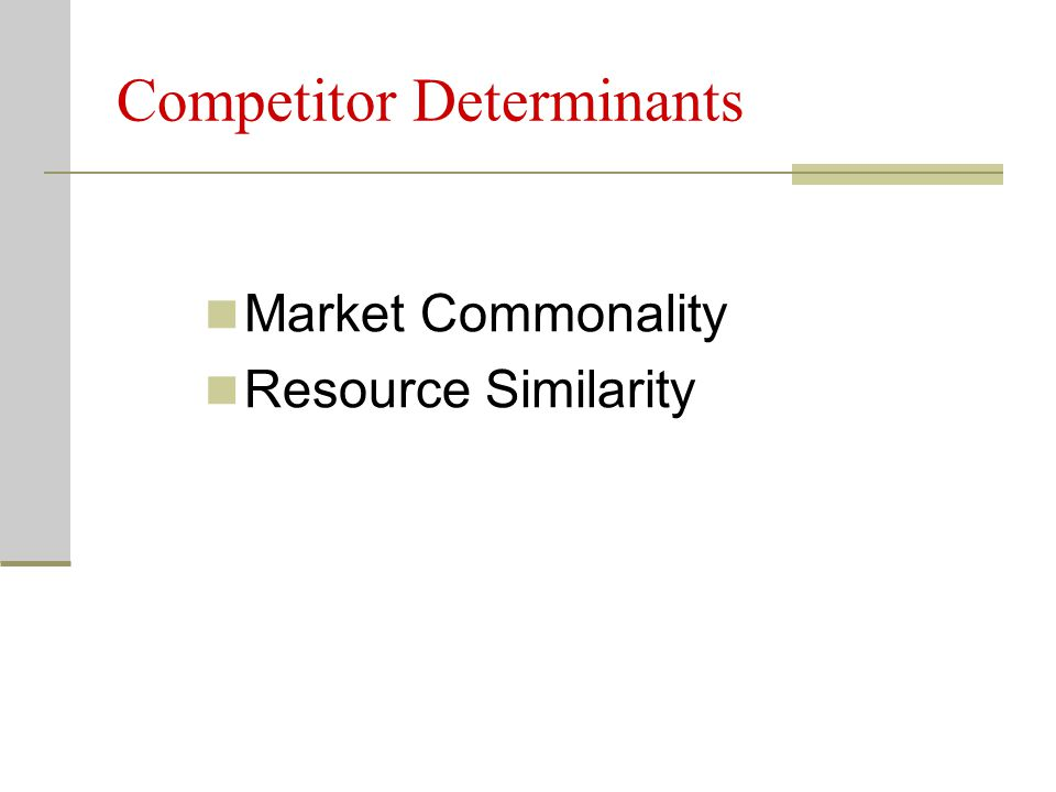 Competitor Determinants Market Commonality Resource Similarity