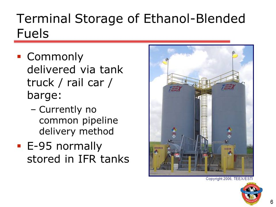 7 Terminal Storage of Ethanol-Blended Fuels  Built-in fire protection systems: –Fixed systems:  Combination of devices permanently installed  Provide fire protection  Can be activated manually / by detection device