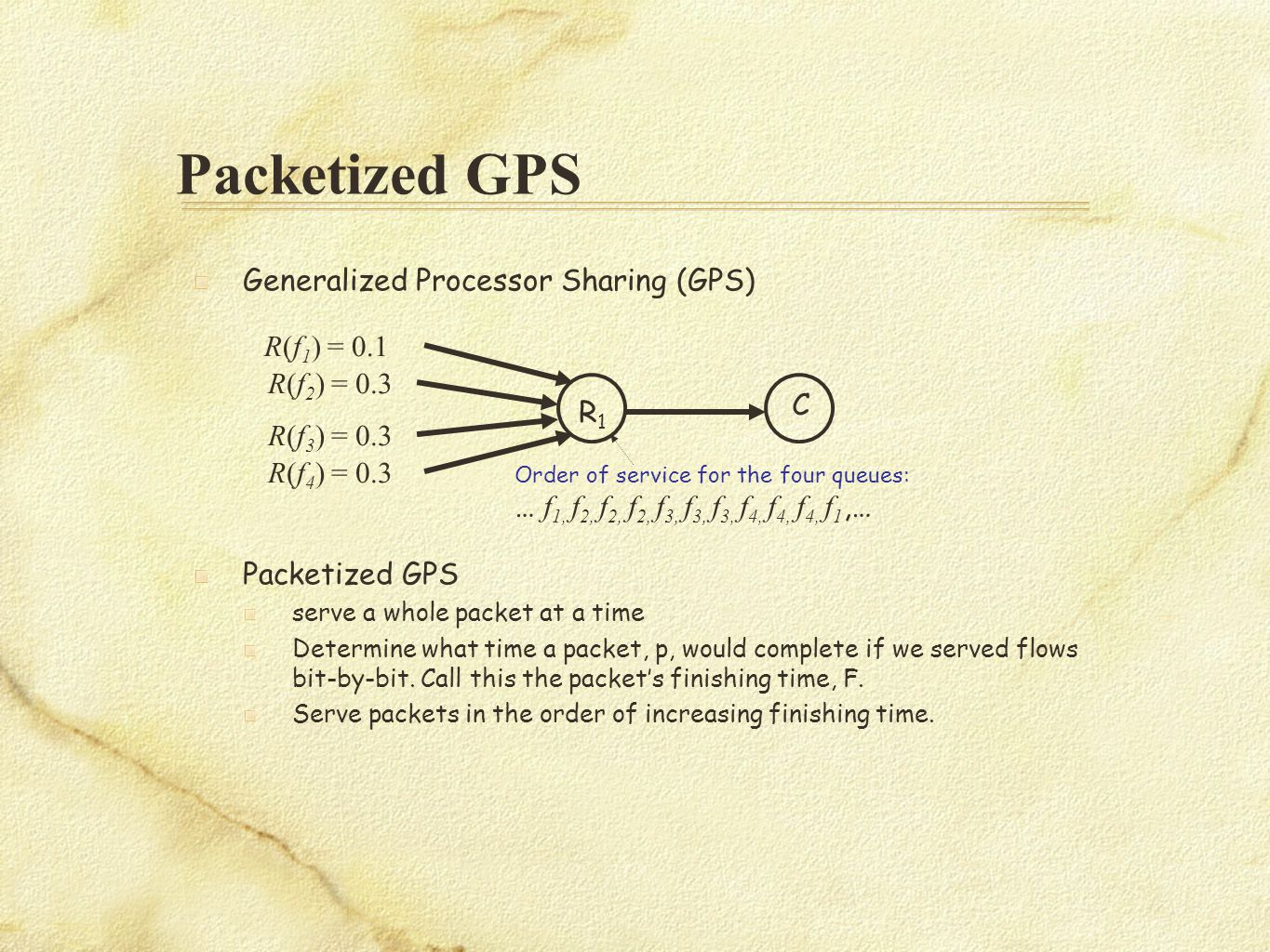 Packetized GPS R(f 1 ) = 0.1 R(f 3 ) = 0.3 R1R1 C R(f 4 ) = 0.3 R(f 2 ) = 0.3 Order of service for the four queues: … f 1, f 2, f 2, f 2, f 3, f 3, f 3, f 4, f 4, f 4, f 1,… Generalized Processor Sharing (GPS) Packetized GPS serve a whole packet at a time Determine what time a packet, p, would complete if we served flows bit-by-bit.