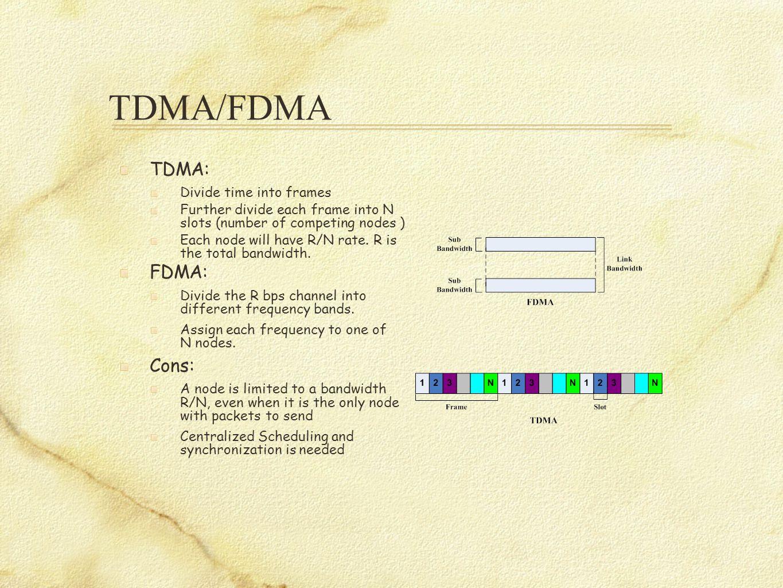 TDMA/FDMA TDMA: Divide time into frames Further divide each frame into N slots (number of competing nodes ) Each node will have R/N rate.