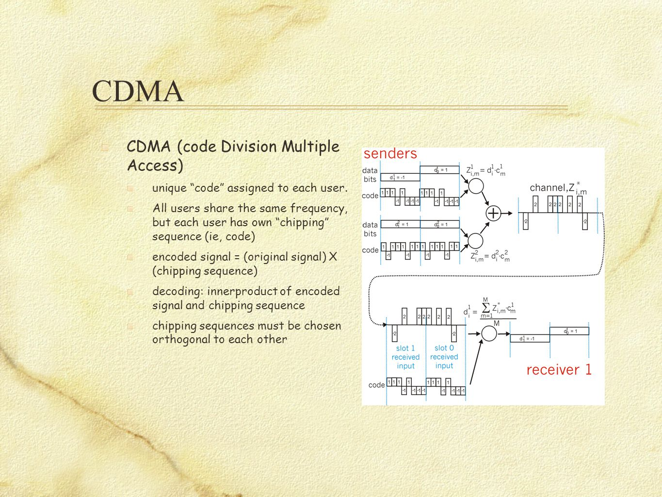 """CDMA CDMA (code Division Multiple Access) unique """"code"""" assigned to each user. All users share the same frequency, but each user has own """"chipping"""" se"""