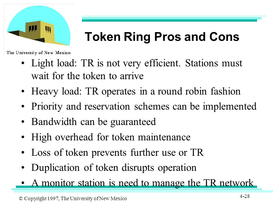 © Copyright 1997, The University of New Mexico 4-28 Token Ring Pros and Cons Light load: TR is not very efficient.
