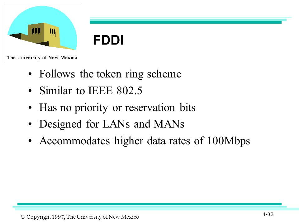 © Copyright 1997, The University of New Mexico 4-32 FDDI Follows the token ring scheme Similar to IEEE 802.5 Has no priority or reservation bits Designed for LANs and MANs Accommodates higher data rates of 100Mbps
