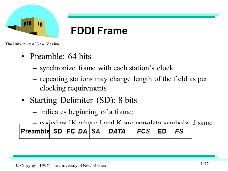 © Copyright 1997, The University of New Mexico 4-37 FDDI Frame Preamble: 64 bits –synchronize frame with each station's clock –repeating stations may change length of the field as per clocking requirements Starting Delimiter (SD): 8 bits –indicates beginning of a frame; –coded as JK where J and K are non-data symbols; J same polarity as preceding symbol, K opposite polarity PreambleSDFCEDDASADATAFCSFS