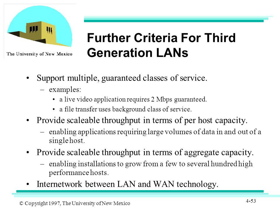 © Copyright 1997, The University of New Mexico 4-53 Further Criteria For Third Generation LANs Support multiple, guaranteed classes of service.