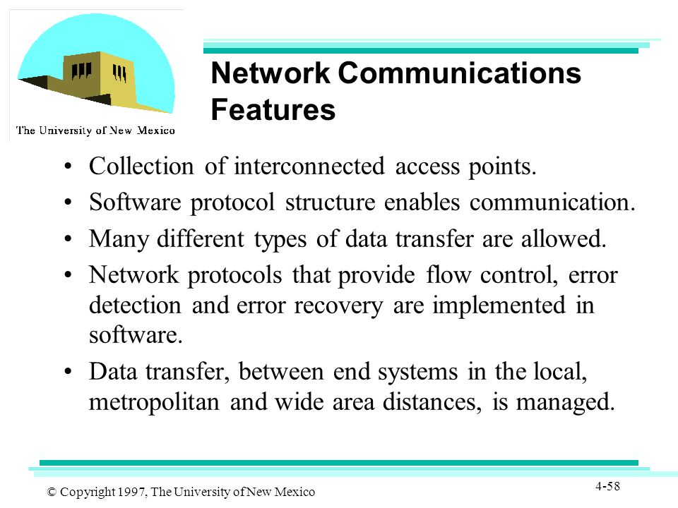 © Copyright 1997, The University of New Mexico 4-58 Network Communications Features Collection of interconnected access points.