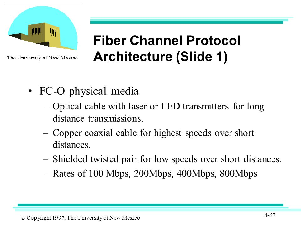 © Copyright 1997, The University of New Mexico 4-67 Fiber Channel Protocol Architecture (Slide 1) FC-O physical media –Optical cable with laser or LED transmitters for long distance transmissions.