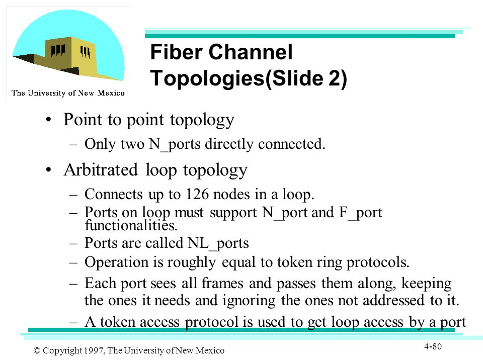 © Copyright 1997, The University of New Mexico 4-80 Fiber Channel Topologies(Slide 2) Point to point topology –Only two N_ports directly connected.
