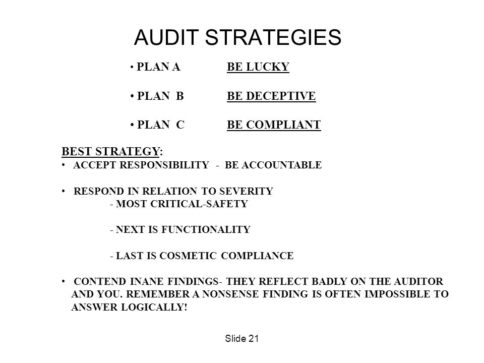 Slide 21 PLAN ABE LUCKY PLAN BBE DECEPTIVE PLAN CBE COMPLIANT BEST STRATEGY: ACCEPT RESPONSIBILITY - BE ACCOUNTABLE RESPOND IN RELATION TO SEVERITY -