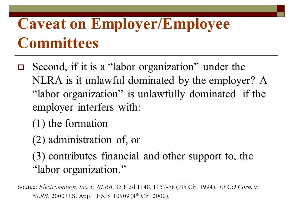 "Caveat on Employer/Employee Committees  Second, if it is a ""labor organization"" under the NLRA is it unlawful dominated by the employer? A ""labor org"