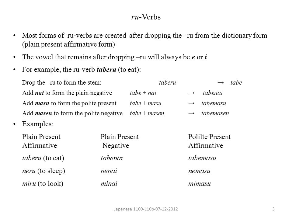 Japanese 1100-L10b-07-12-20124 u-verbs Most forms of u-verbs (also called u-dropping verbs) are created from their dictionary form by dropping the –u and adding one or more suffixes For example, the u-verb kaeru (to return): Drop the –u to form the stem:kaeru→ [kaer] 1 Add anai to form the plain negativekaer + anai → kaeranai Add imasu to form the polite present kaer + imasu→ kaerimasu Add masen to form the polite negative kaer + imasen → kaerimasen u-verbs end in one of the following nine hiragana letters る ru く ku ぐ gu う u つ tsu す su む mu ぬ nu ぶ bu --------------------------------------- 1 This is conceptual only; ka-e-r is not really possible in written Japanese.
