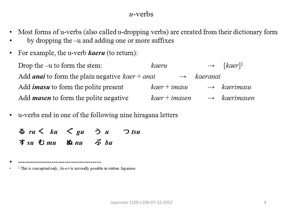 Japanese 1100-L10b-07-12-20125 Patterns of the Nine Kinds of u-verbs Plain PresentPlain PresentPlain Present AffirmativeNegativeAffirmative (Dictionary form) kaeru (to return)kaeranaikaerimasu kaku (to write)kakanaikakimasu oyogu (to swim)oyoganaioyogimasu kau (to buy)kawanaikaimasu matsu (to wait)matanaimachimasu hanasu (to speak)hanasanaihanashimasu nomu (to drink)nomanainomimasu shinu 1 (to die)shinanaishinimasu asobu (to play)asobanaiasobimasu ------------------------------------ 1 shinu is the only verb in Japanese that ends in nu