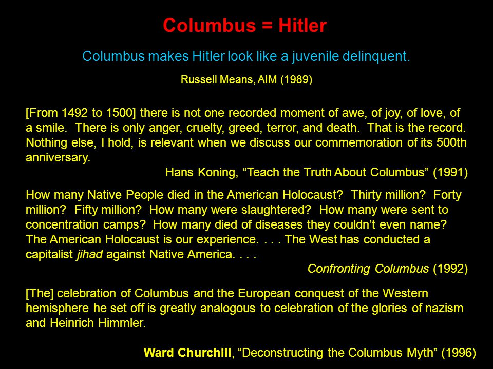 Lessons Learned.Columbus-the hero and Columbus-the-villain live on....