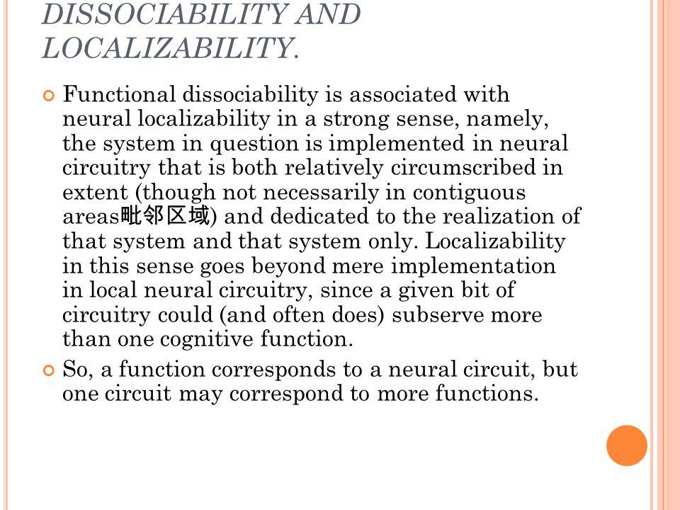 DISSOCIABILITY AND LOCALIZABILITY.