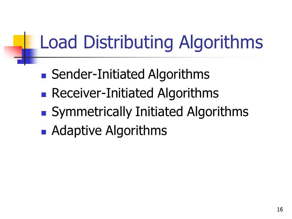 16 Load Distributing Algorithms Sender-Initiated Algorithms Receiver-Initiated Algorithms Symmetrically Initiated Algorithms Adaptive Algorithms