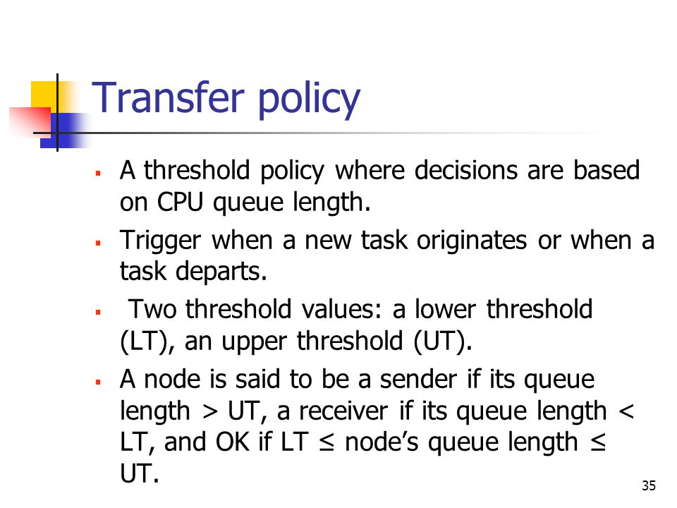 35 Transfer policy  A threshold policy where decisions are based on CPU queue length.