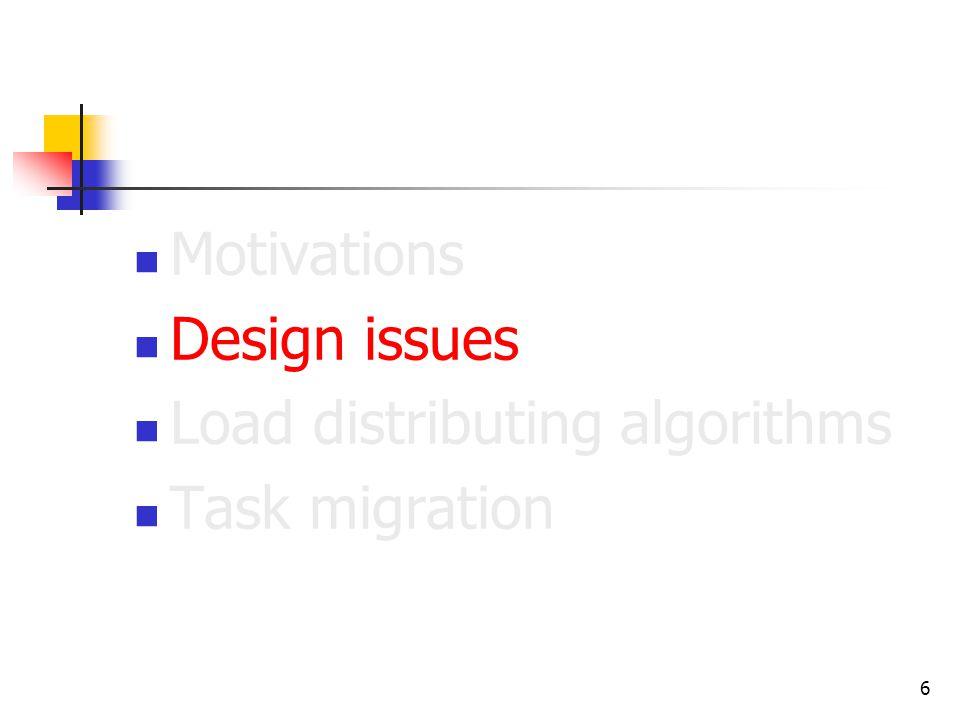 6 Motivations Design issues Load distributing algorithms Task migration