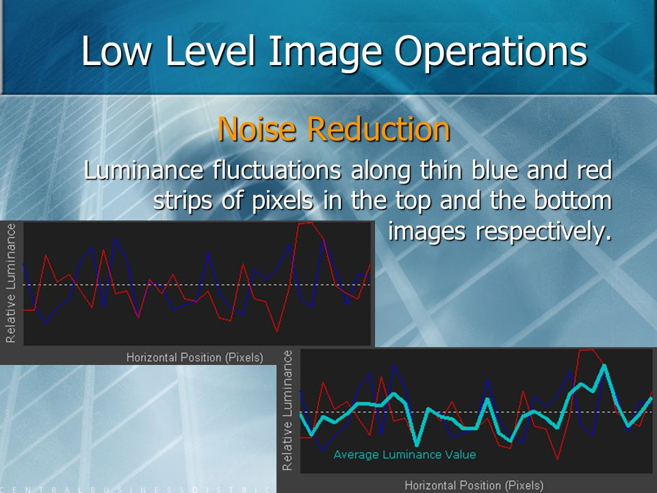 Low Level Image Operations Noise Reduction Luminance fluctuations along thin blue and red strips of pixels in the top and the bottom images respective