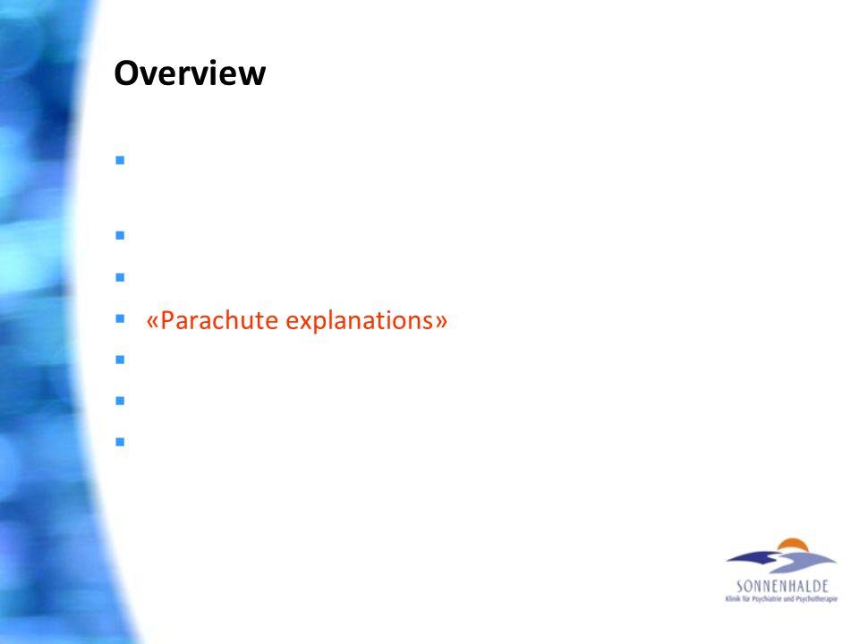 Overview  Extrem I: Gesundheit ist machbar – glaube nur!  Extrem II: Wunder gibt es nicht mehr  Spiritualisierung psychischer Probleme  «Parachute