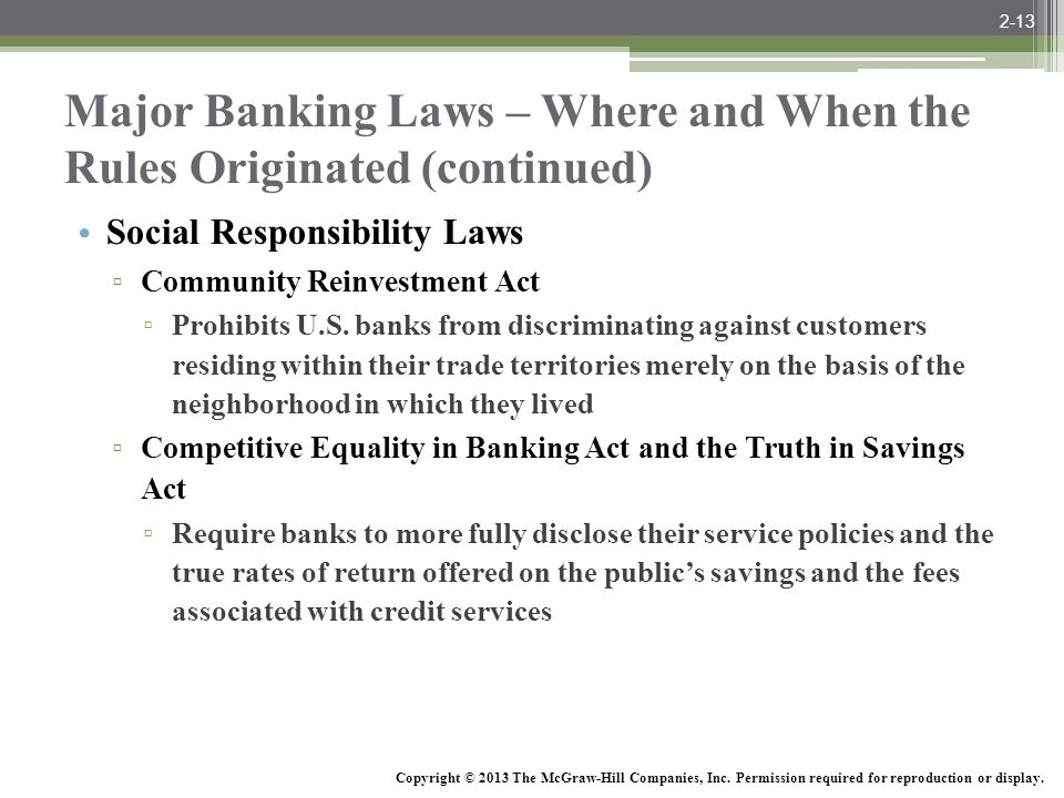 McGraw-Hill/Irwin Bank Management and Financial Services, 7/e © 2008 The McGraw-Hill Companies, Inc., All Rights Reserved. Major Banking Laws – Where