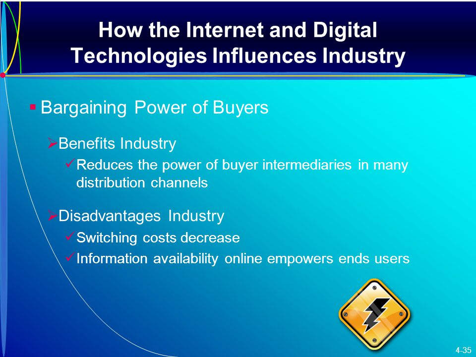 How the Internet and Digital Technologies Influences Industry   Bargaining Power of Buyers   Benefits Industry Reduces the power of buyer intermediaries in many distribution channels   Disadvantages Industry Switching costs decrease Information availability online empowers ends users 4-35