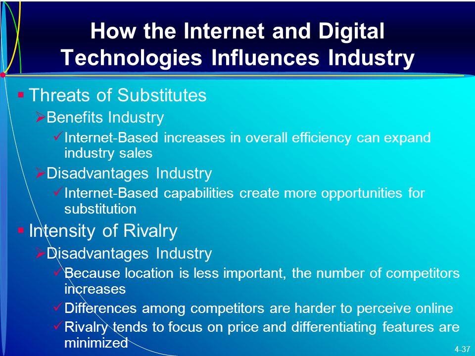 How the Internet and Digital Technologies Influences Industry   Threats of Substitutes   Benefits Industry Internet-Based increases in overall efficiency can expand industry sales   Disadvantages Industry Internet-Based capabilities create more opportunities for substitution   Intensity of Rivalry   Disadvantages Industry Because location is less important, the number of competitors increases Differences among competitors are harder to perceive online Rivalry tends to focus on price and differentiating features are minimized 4-37