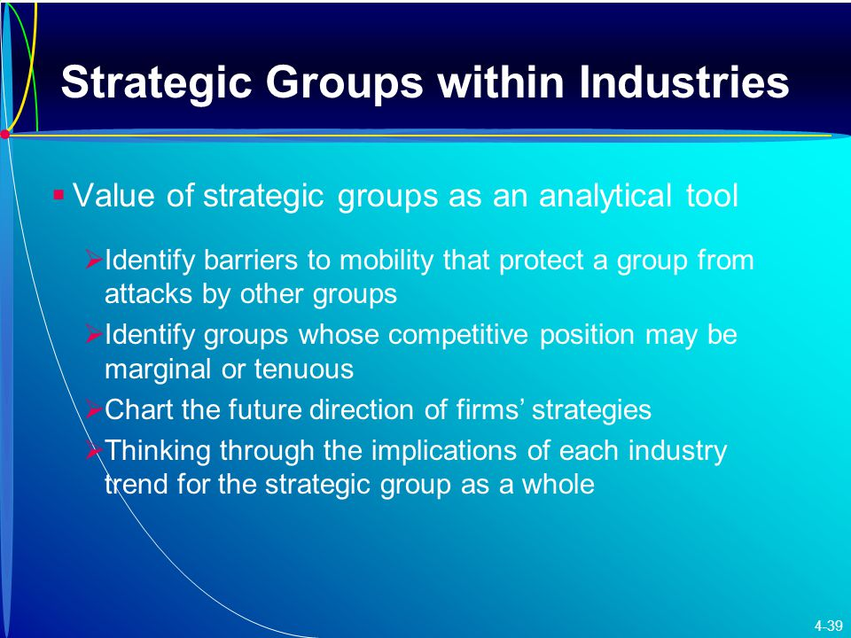 Strategic Groups within Industries   Value of strategic groups as an analytical tool   Identify barriers to mobility that protect a group from attacks by other groups   Identify groups whose competitive position may be marginal or tenuous   Chart the future direction of firms' strategies   Thinking through the implications of each industry trend for the strategic group as a whole 4-39