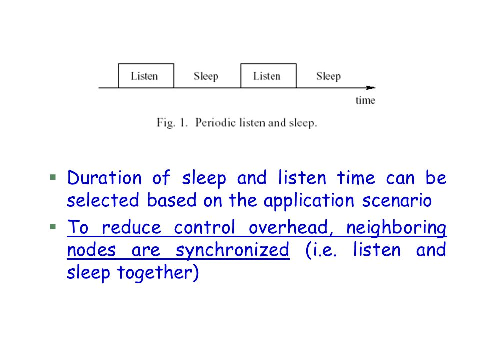§Duration of sleep and listen time can be selected based on the application scenario §To reduce control overhead, neighboring nodes are synchronized (