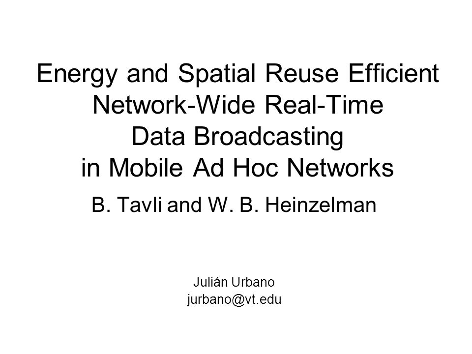 Efficient Spatial Reuse (III) Fully coordinated algorithms –Based on global info –NP-problem