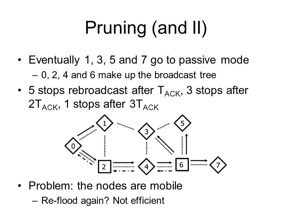 Pruning (and II) Eventually 1, 3, 5 and 7 go to passive mode –0, 2, 4 and 6 make up the broadcast tree 5 stops rebroadcast after T ACK, 3 stops after 2T ACK, 1 stops after 3T ACK Problem: the nodes are mobile –Re-flood again.