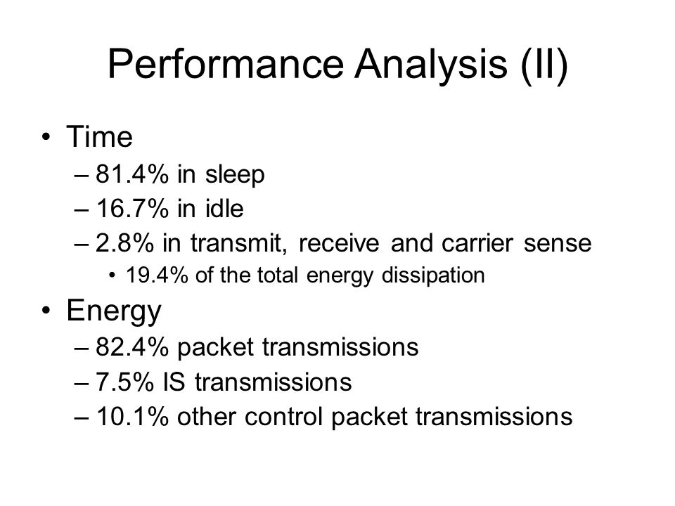 Performance Analysis (II) Time –81.4% in sleep –16.7% in idle –2.8% in transmit, receive and carrier sense 19.4% of the total energy dissipation Energy –82.4% packet transmissions –7.5% IS transmissions –10.1% other control packet transmissions
