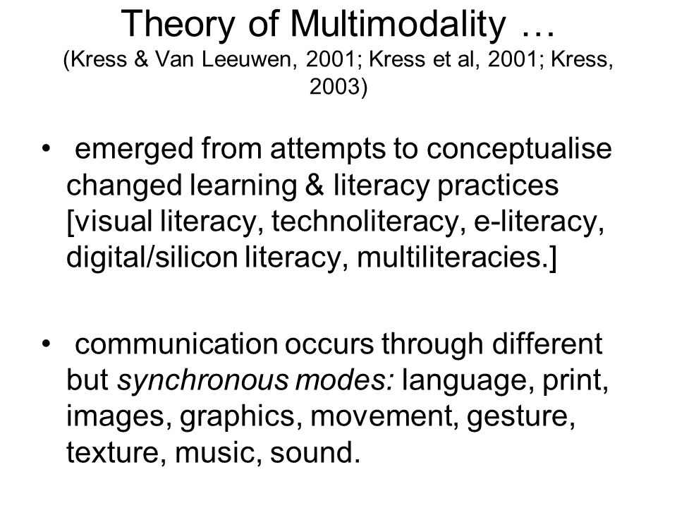 Multimodal texts -2 or more modes READING Picture books and information texts Talking books CDRom narratives and factual texts E-books Web-sites, web search, web quests, book raps Games, DVDs Emails, discussion boards.