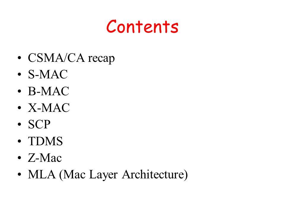 Contents CSMA/CA recap S-MAC B-MAC X-MAC SCP TDMS Z-Mac MLA (Mac Layer Architecture)