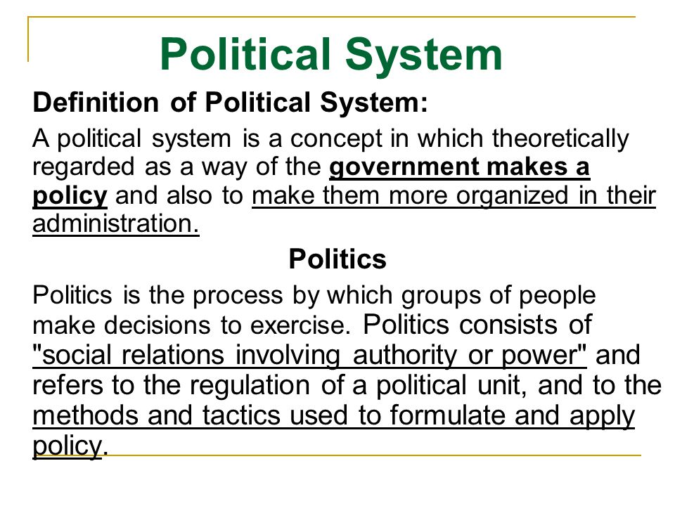 Political System Anarchism: Rule by all/no one Anarchism Democracy: Rule by majority Democracy Monarchy.