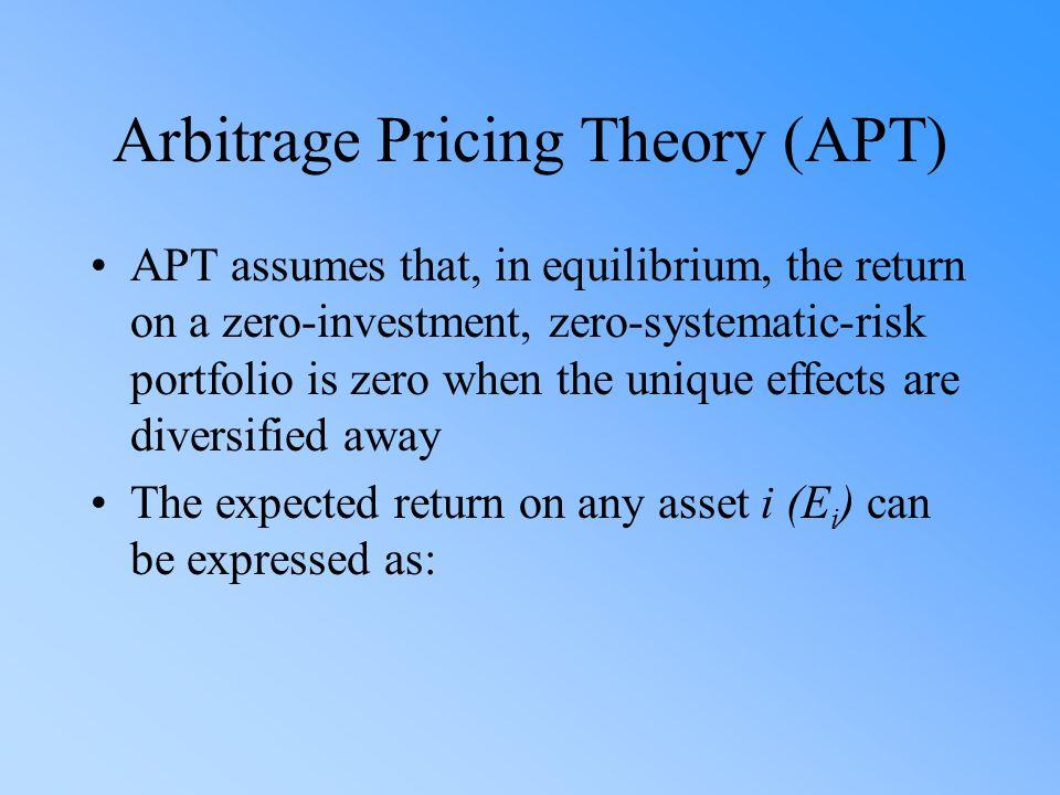 Arbitrage Pricing Theory (APT) APT assumes that, in equilibrium, the return on a zero-investment, zero-systematic-risk portfolio is zero when the uniq