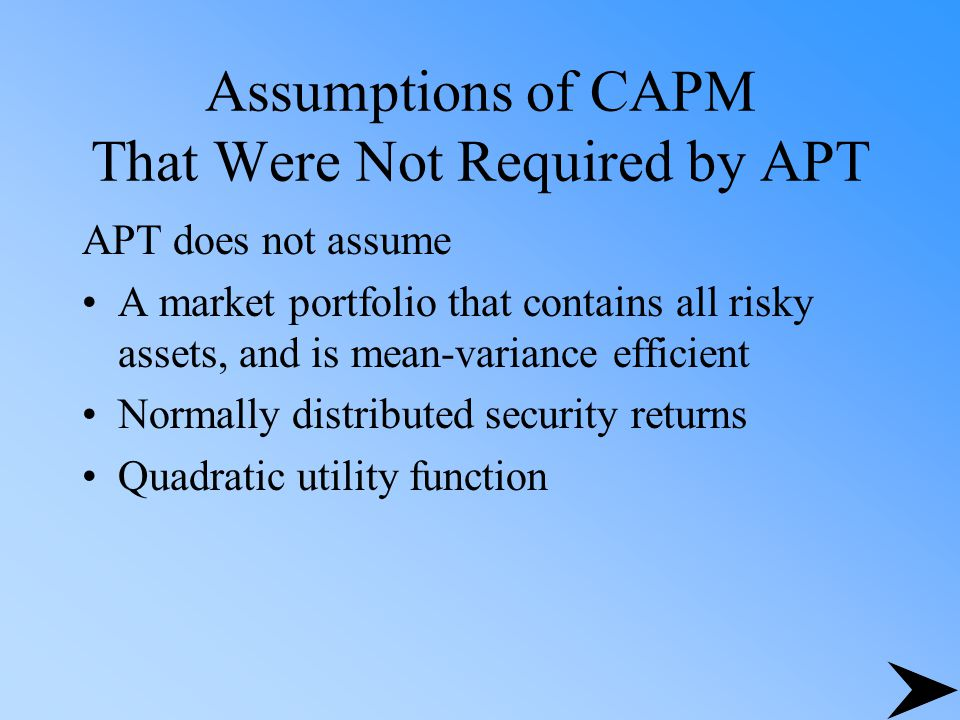 The APT and Anomalies Small-firm effect Reinganum - results inconsistent with the APT Chen - supported the APT model over CAPM January anomaly Gultekin - APT not better than CAPM Burmeister and McElroy - effect not captured by model, but still rejected CAPM in favor of APT