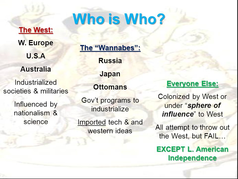 "Who is Who? The West: W. Europe U.S.A Australia Industrialized societies & militaries Influenced by nationalism & science The ""Wannabes"": Russia Japan"