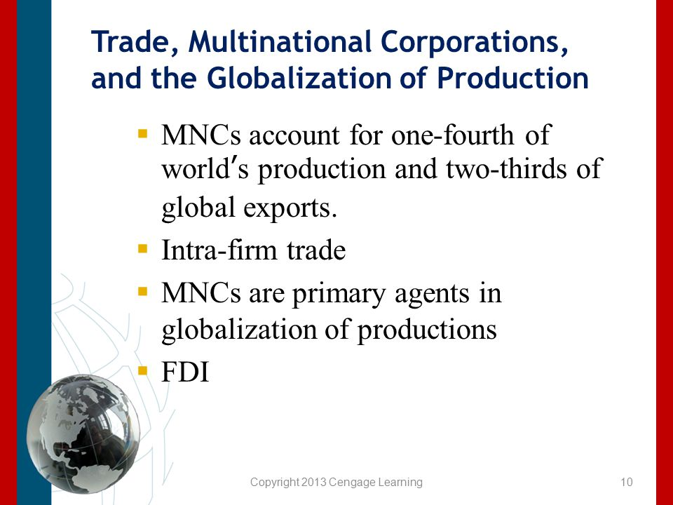 Trade, Multinational Corporations, and the Globalization of Production  MNCs account for one-fourth of world's production and two-thirds of global ex