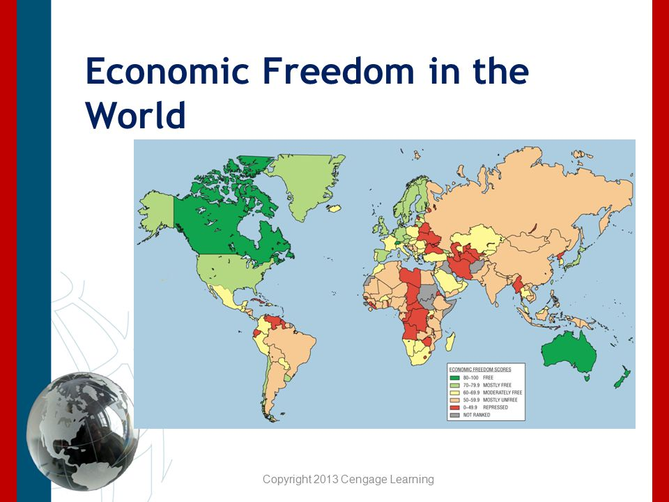 Economic Freedom in the World Copyright 2013 Cengage Learning