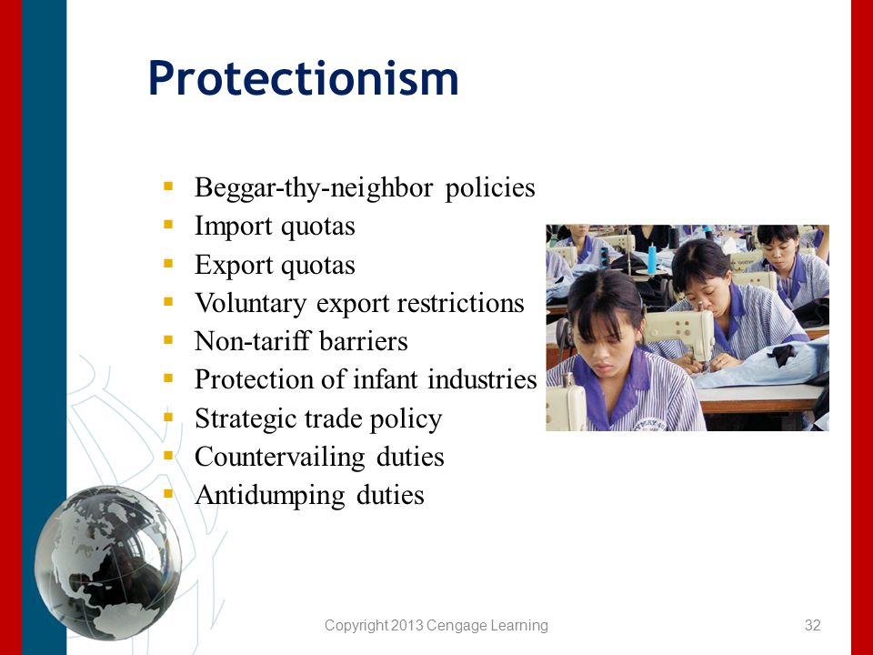 Copyright 2013 Cengage Learning Protectionism  Beggar-thy-neighbor policies  Import quotas  Export quotas  Voluntary export restrictions  Non-tar