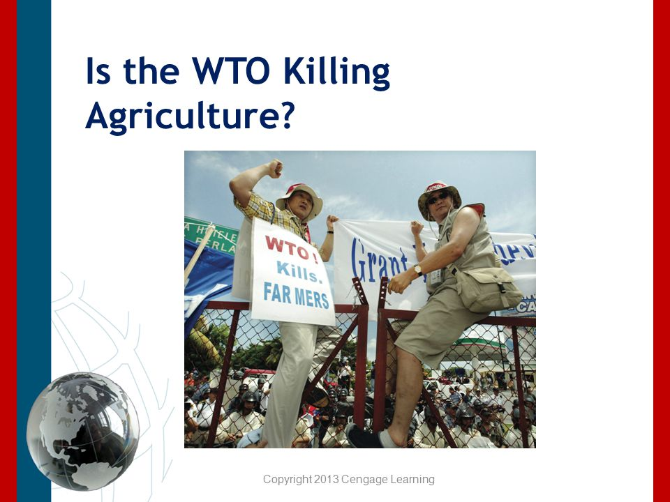 Is the WTO Killing Agriculture? Copyright 2013 Cengage Learning