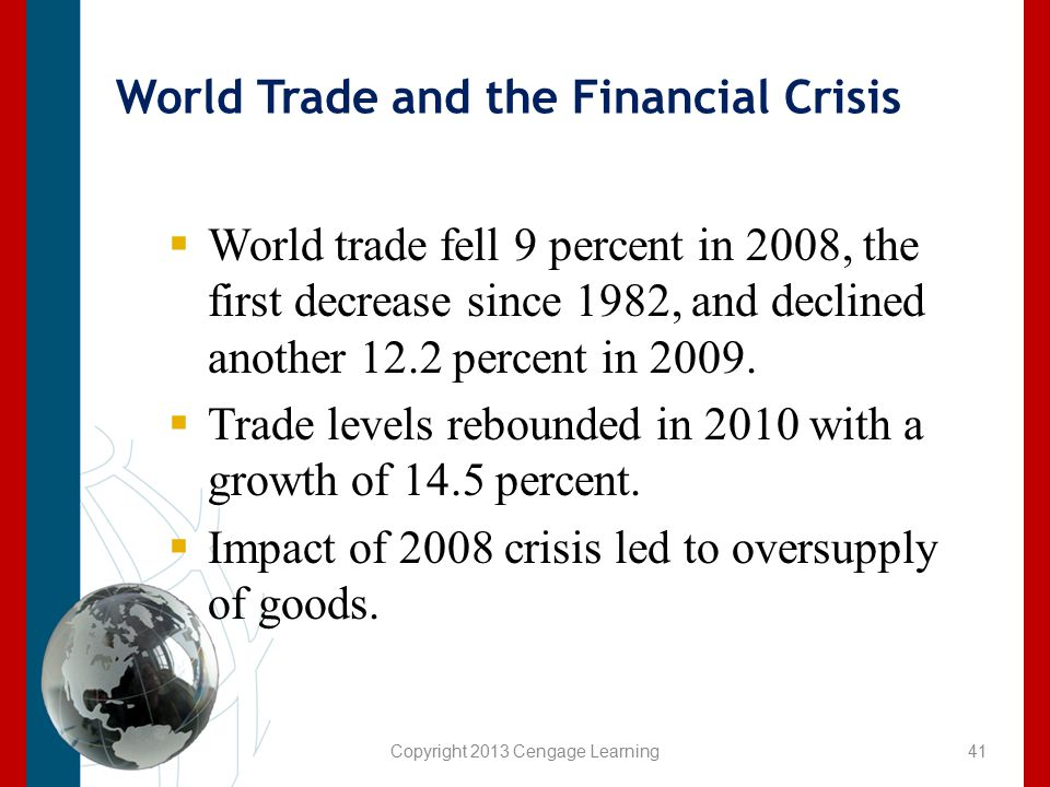World Trade and the Financial Crisis  World trade fell 9 percent in 2008, the first decrease since 1982, and declined another 12.2 percent in 2009. 