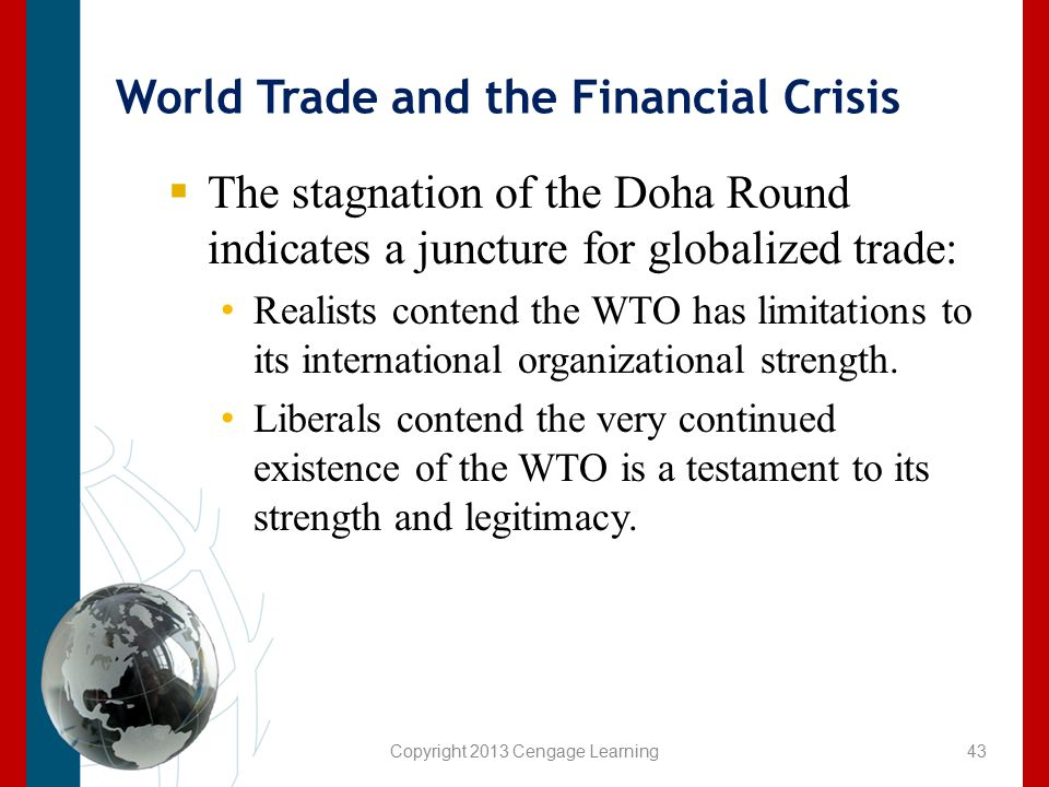 Copyright 2013 Cengage Learning World Trade and the Financial Crisis  The stagnation of the Doha Round indicates a juncture for globalized trade: Rea