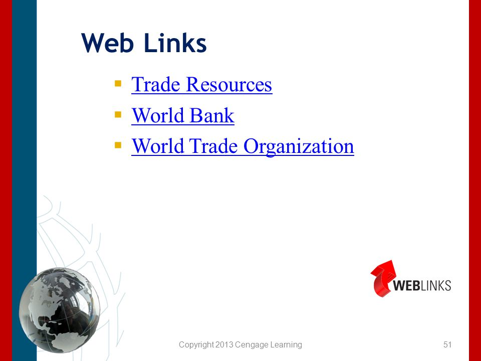 Copyright 2013 Cengage Learning Web Links  Trade Resources Trade Resources  World Bank World Bank  World Trade Organization World Trade Organizatio