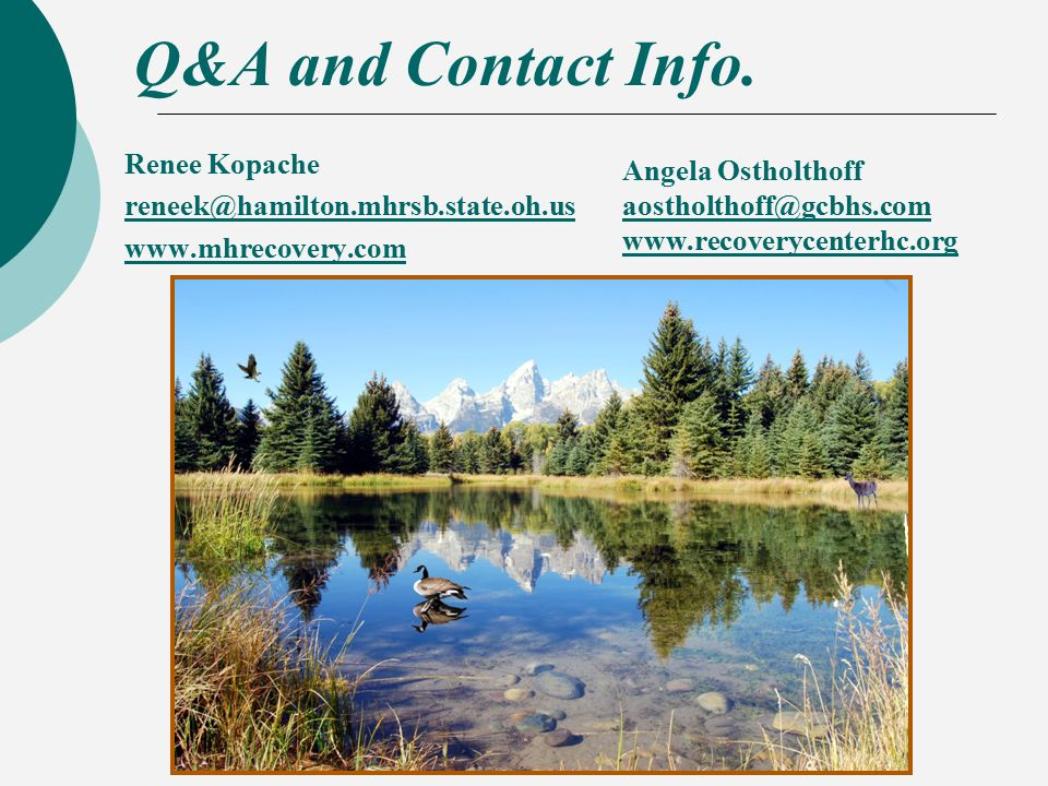 Q&A and Contact Info.