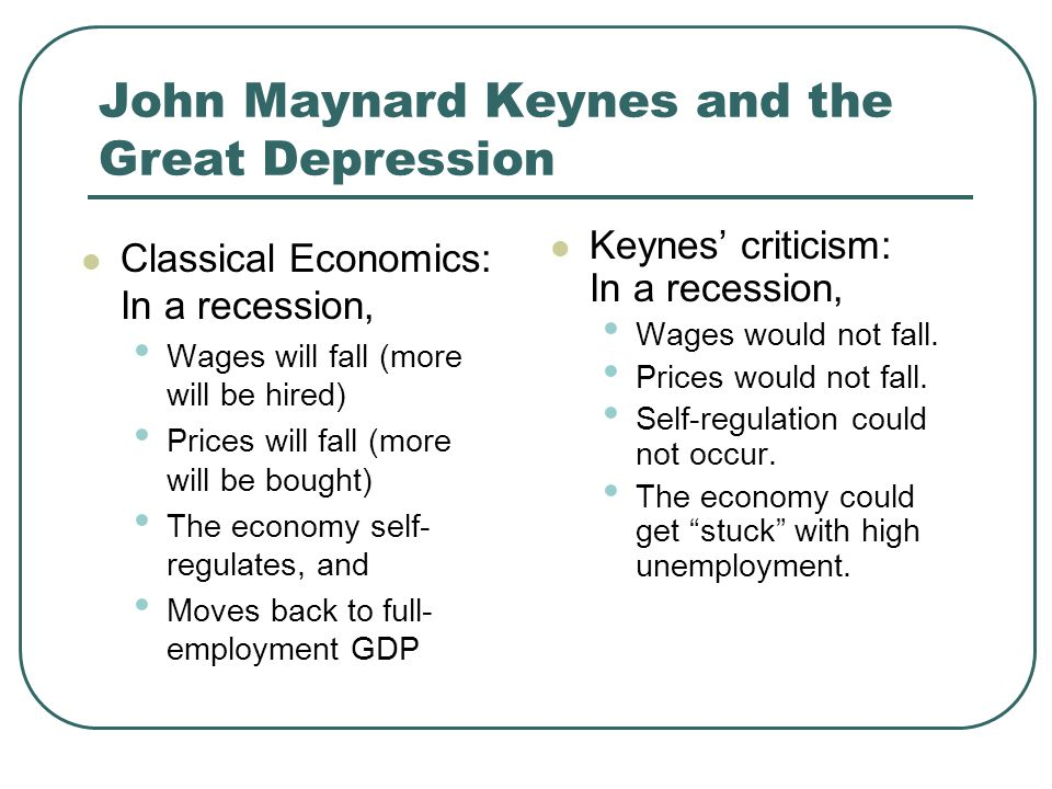 John Maynard Keynes and the Great Depression Classical Economics: In a recession, Wages will fall (more will be hired) Prices will fall (more will be