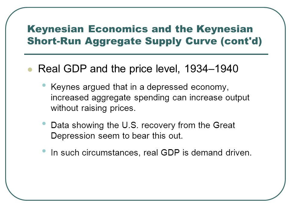 Keynesian Economics and the Keynesian Short-Run Aggregate Supply Curve (cont'd) Real GDP and the price level, 1934–1940 Keynes argued that in a depres