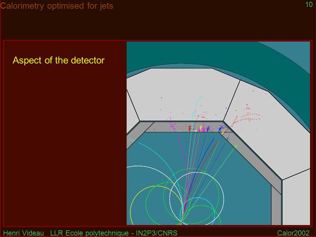 Henri Videau LLR Ecole polytechnique - IN2P3/CNRSCalor2002 10 Calorimetry optimised for jets Aspect of the detector