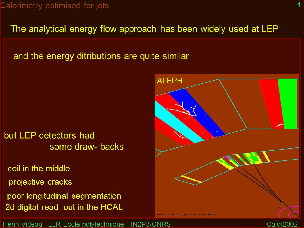 Henri Videau LLR Ecole polytechnique - IN2P3/CNRSCalor2002 4 Calorimetry optimised for jets The analytical energy flow approach has been widely used at LEP but LEP detectors had some draw- backs ALEPH coil in the middle poor longitudinal segmentation 2d digital read- out in the HCAL and the energy ditributions are quite similar projective cracks